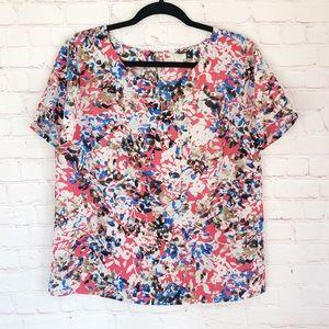 🍁J. Crew] lightweight printed keyhole back blouse
